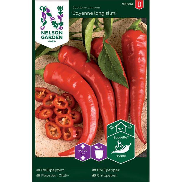 Chilipeppar 'Cayenne long slim', Flerfärgad