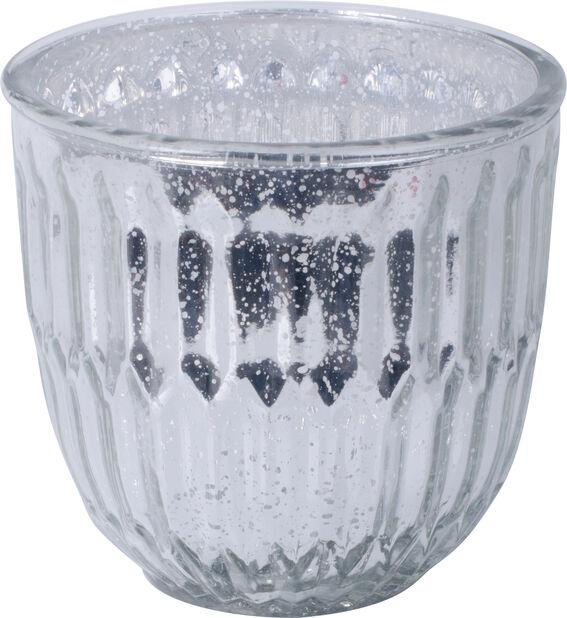 Luna glaskruka Ø13 cm, silver