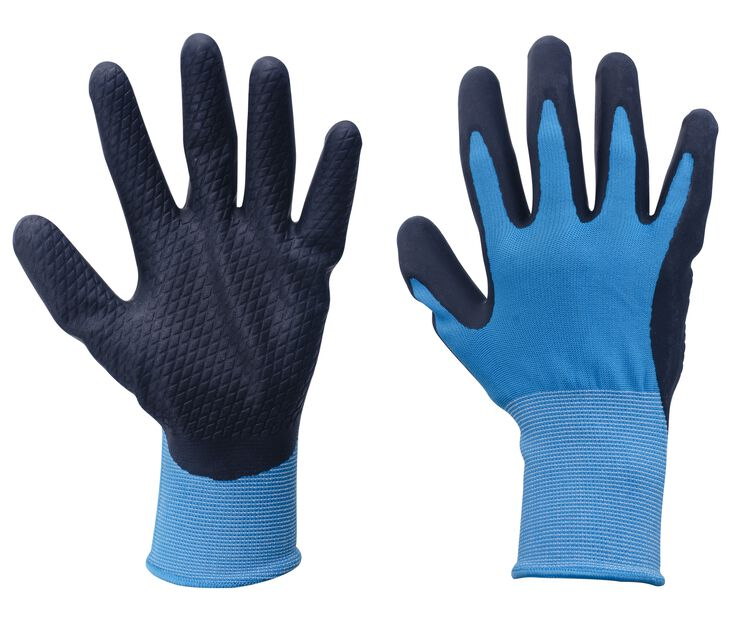 Trädgårdshandske latex, M, Blå