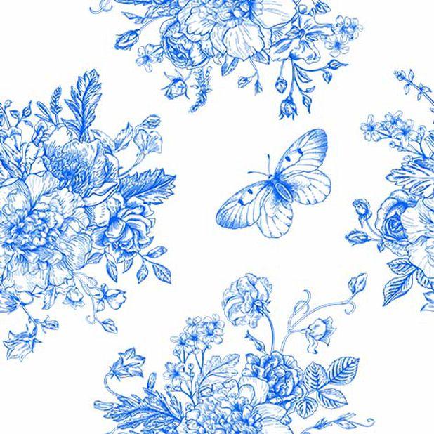 Servetter fjäril och blommor, Bredd 33 cm, Blå