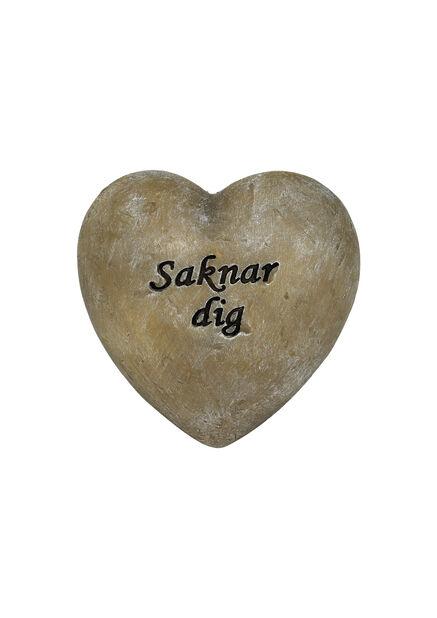 """Hjärta """"Saknar dig"""", Ø8.5 cm, Grå"""