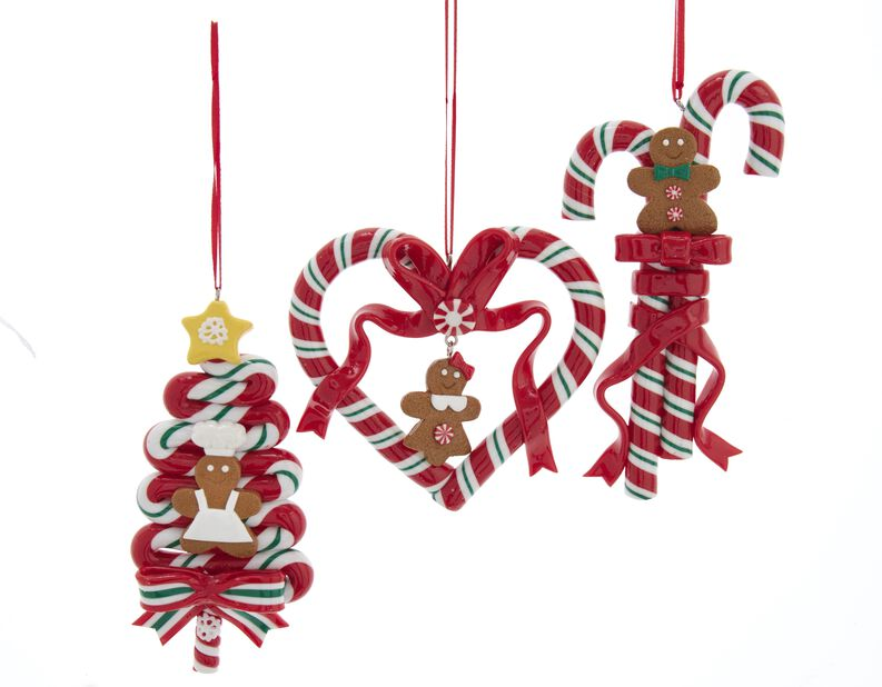 Julgranspynt Godis med pepparkaksfigurer, Höjd 10 cm, Flerfärgad