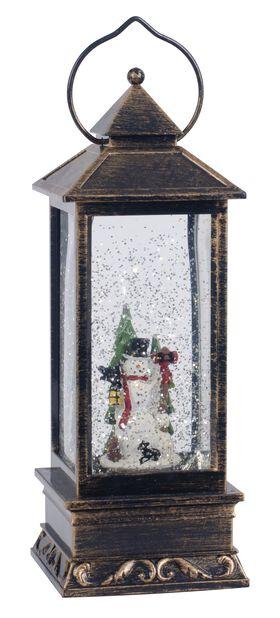 Lykta Snögubbe LED, Höjd 25 cm, Flerfärgad
