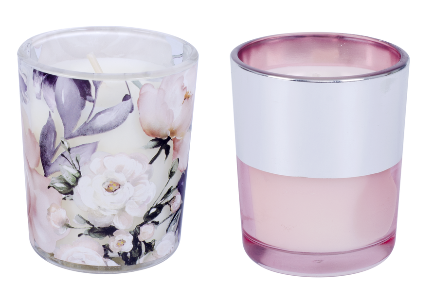 Doftljus i gåvoask, Höjd 18 cm, Rosa