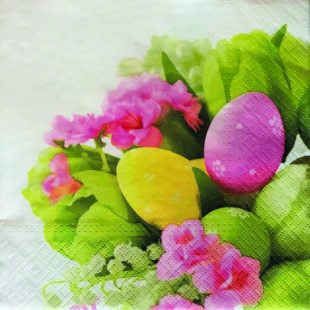 Servetter påskägg och blommor, Bredd 33 cm, Flerfärgad