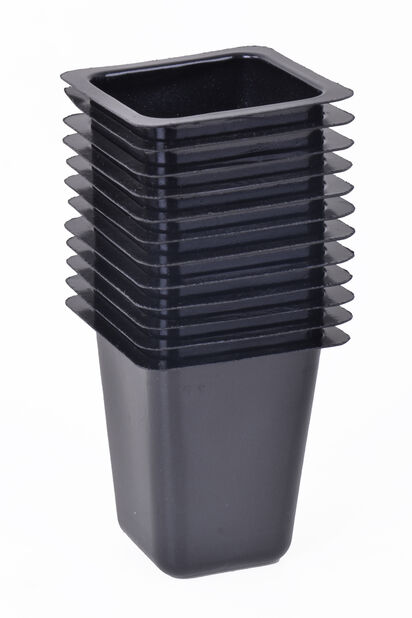 Plastkruka fyrkantig 12-pack, Längd 4.5 cm, Svart