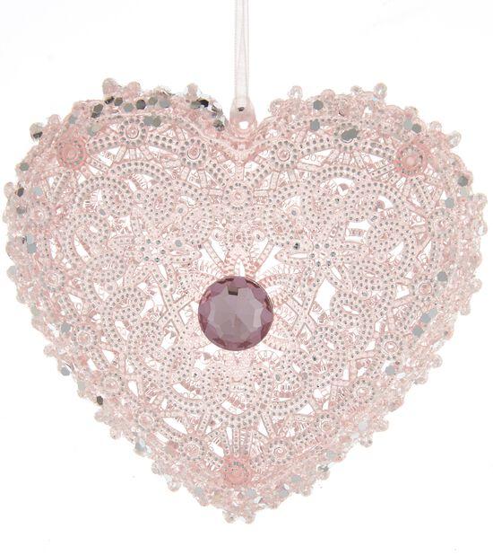 Julgranspynt hjärta, Höjd 10 cm, Rosa