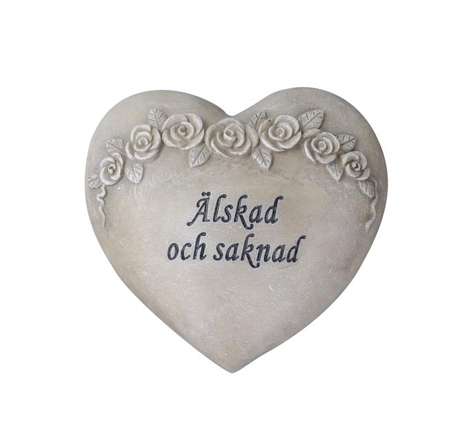 Hjärta 'Älskad och saknad', Längd 13 cm, Grå