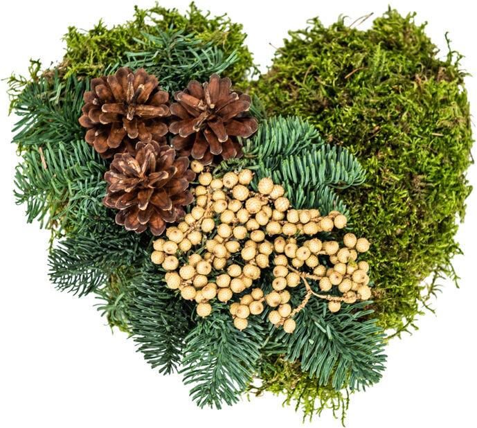 Gravdekoration Mosshjärta, Ø25 cm, Grön