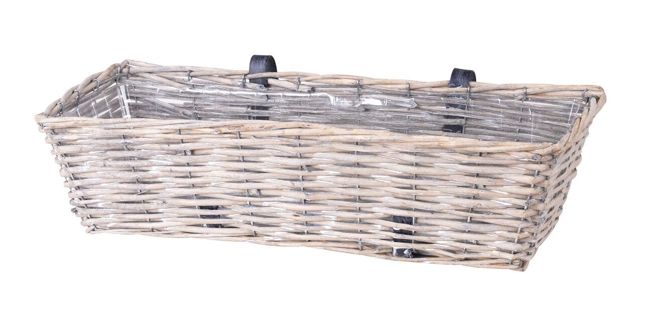 Balkonglåda m hållare 61 cm grå