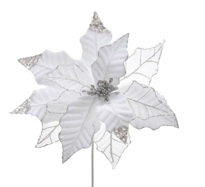 Juldekoration julstjärna, Höjd 13 cm, Vit
