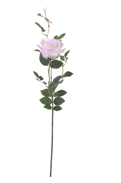 Ros med kvist H56 cm, rosa, konstgjord
