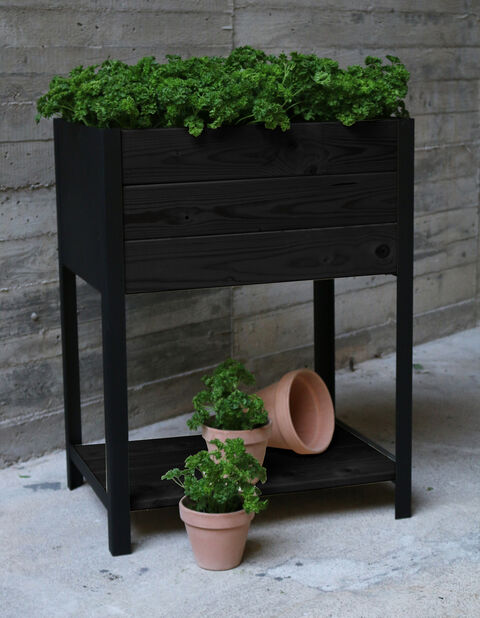 Hög planteringslåda Cultura, Längd 78 cm, Svart