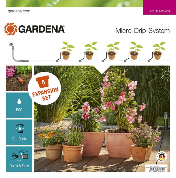 Påbyggnadspaket för blomkrukor Gardena, Längd 5 m