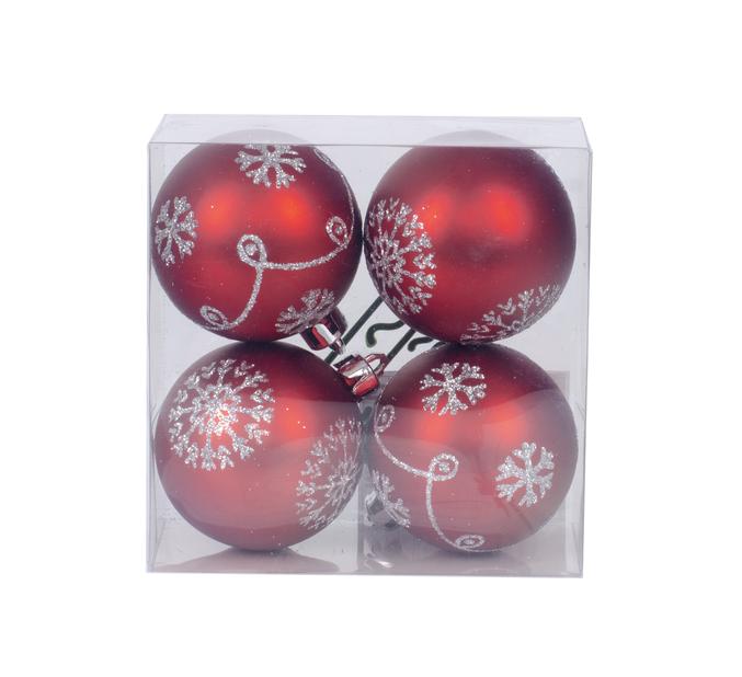Julgranskulor 4-pack, Ø6 cm, Röd