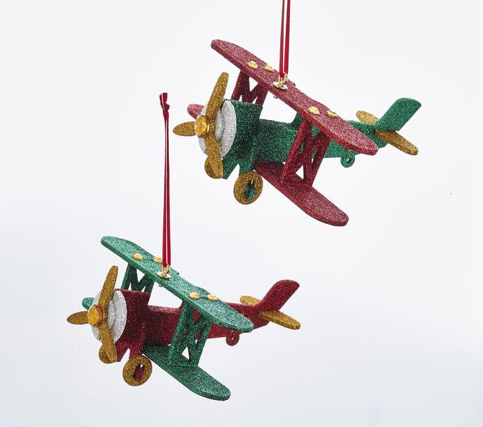 Julpynt flygplan, Längd 14 cm, Flerfärgad
