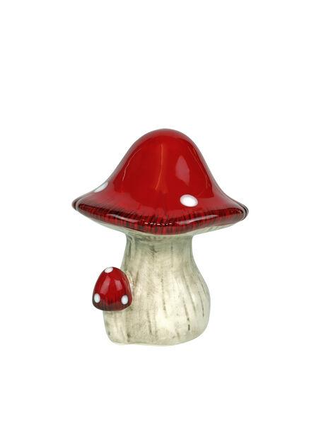 Julpynt keramiksvamp, Höjd 12 cm, Röd