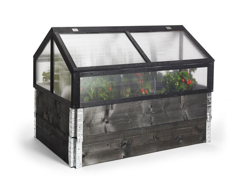 Växthus för pallkrage, Längd 120 cm, Svart
