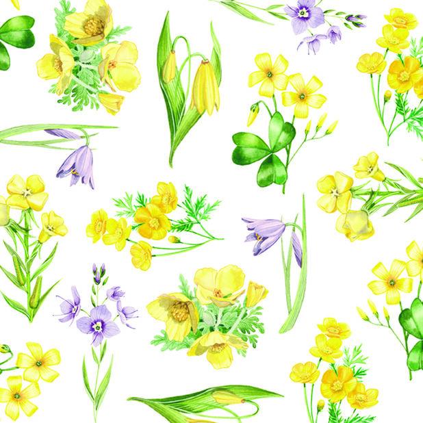 Påskservetter blommor, Bredd 33 cm, Gul