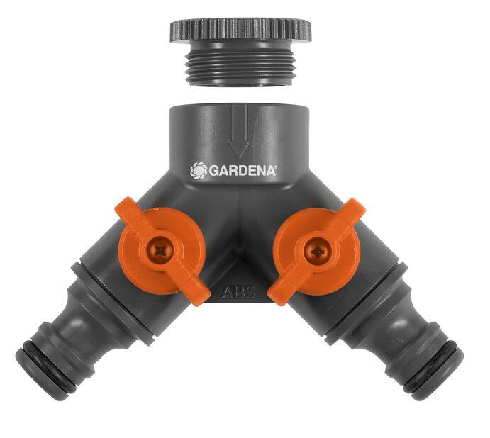 2-vägskran med adapter Gardena 1/2-3/4 tum, Flerfärgad
