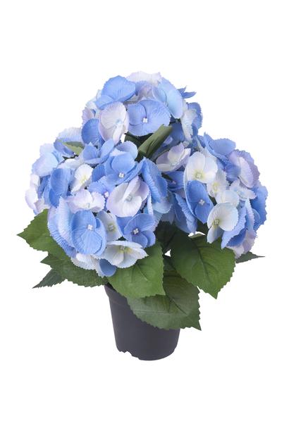 Hortensia i kruka H35 cm, blå, konstgjord