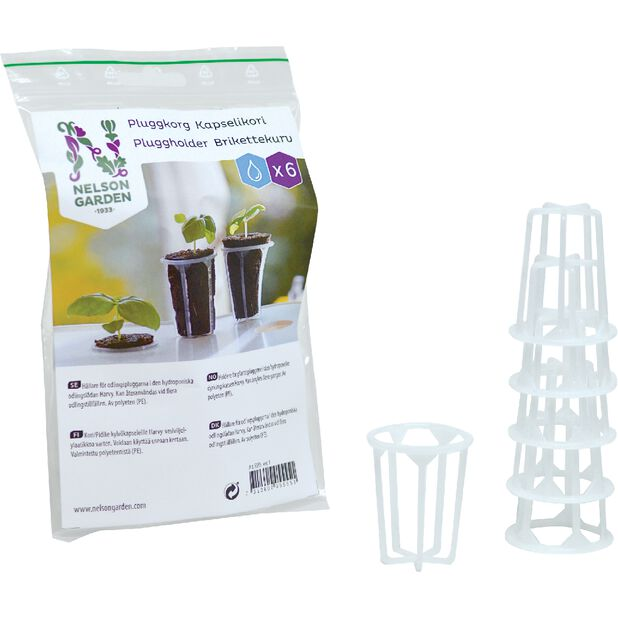 Pluggkorg för hydroponisk odling 6 st, 6-pack, Vit