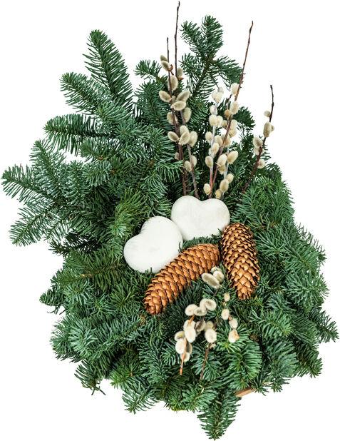 Gravdekoration i kruka, Höjd 25 cm, Grön