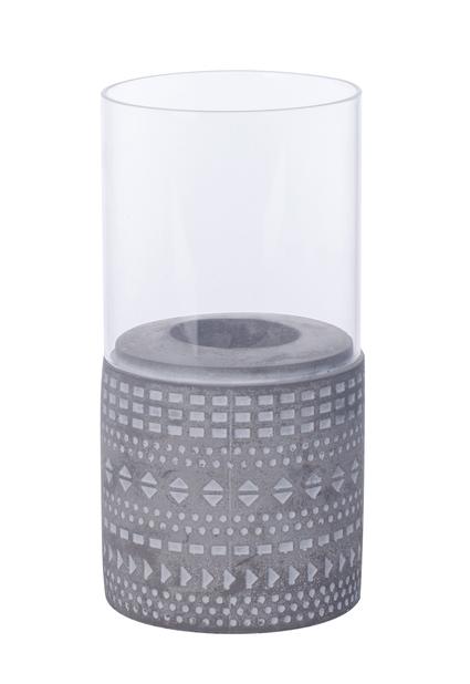 Värmeljushållare Hedda, Höjd 15 cm, Grå