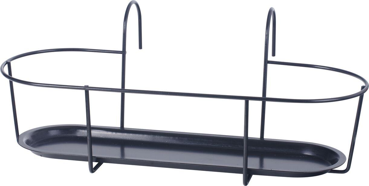 Krukhållare för balkong, Ø50 cm, Svart