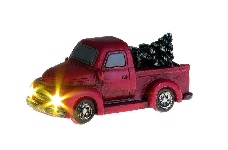 Julpynt pick-up med LED-lampor, Höjd 5 cm, Röd