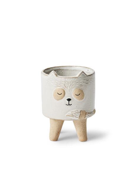 Kruka katt Lovi, Ø11 cm, Vit