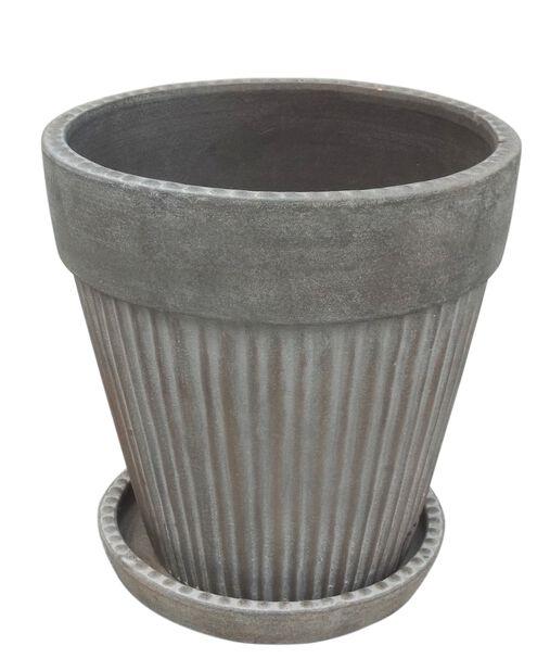 Kruka Kelly med fat, Ø23 cm, Grå