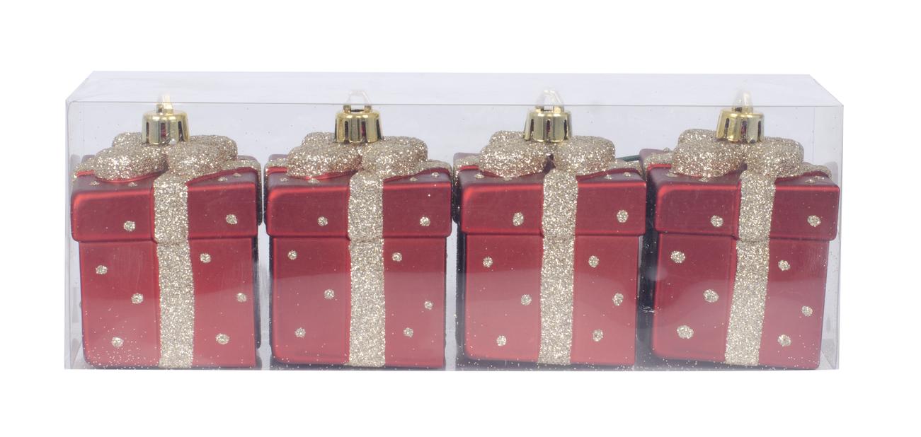 Julgranspynt set 4-pack, Höjd 7 cm, Röd