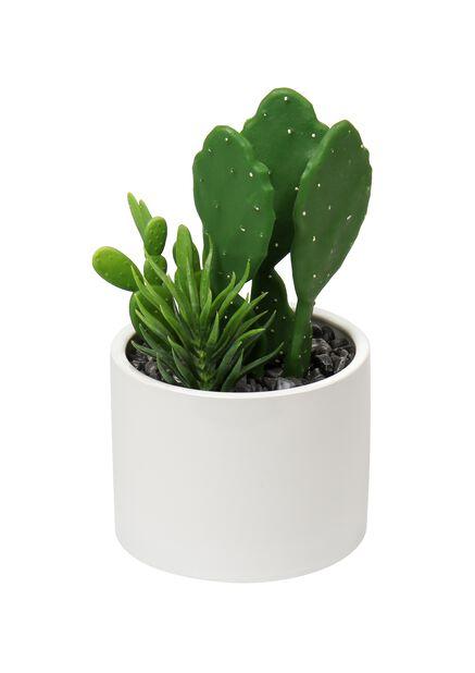 Kaktus i kruka konstgjord, Längd 25 cm, Grön