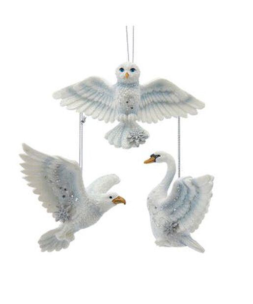 Julpynt fåglar uggla/örn/svan, Höjd 8 cm, Offwhite