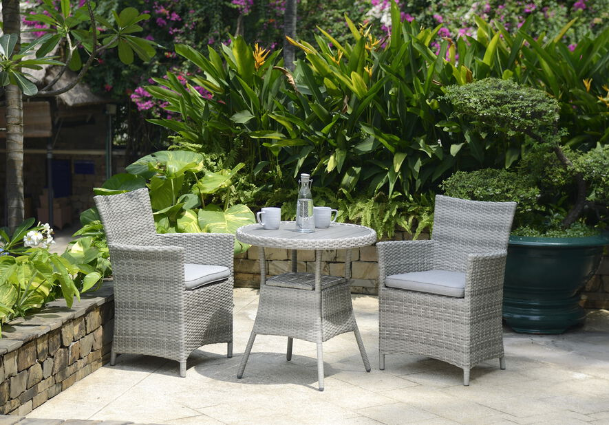 Caféset Aruba, 2 sittplatser, Grå
