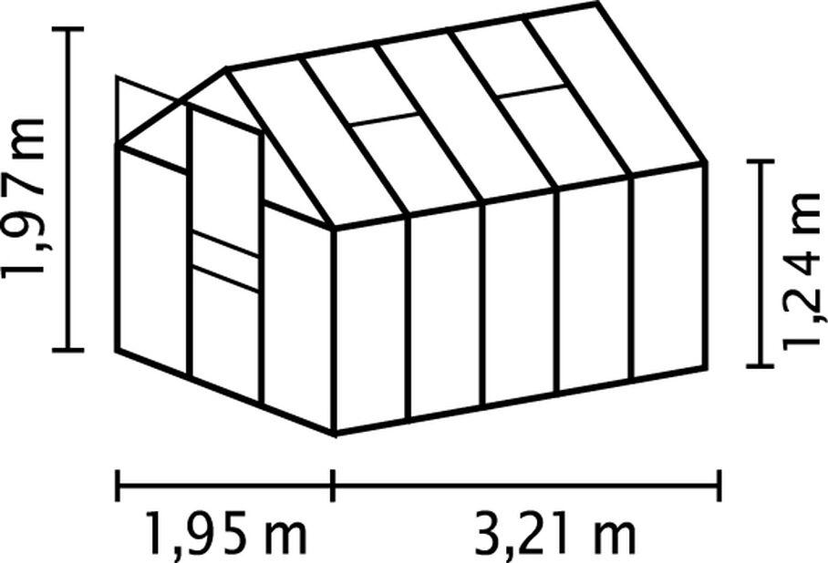 Växthus Venus, 6.2 kvm, Grå