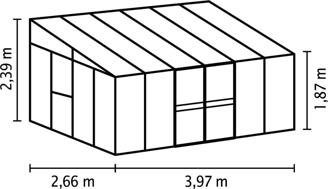 Växthus Helena, 10.2 kvm, Grå