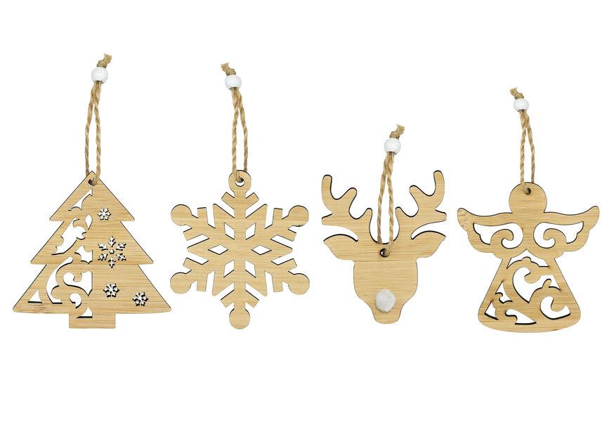 Julgranspynt i trä 4-pack, 4-pack, Flerfärgad