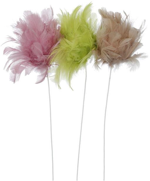 Påskpynt blompinne fjädrar, Längd 30 cm, Flera färger