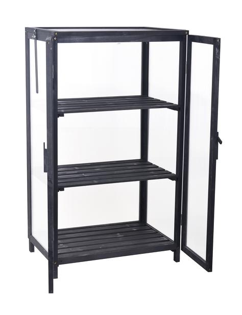 Balkongväxthus 63x45x110 cm svart