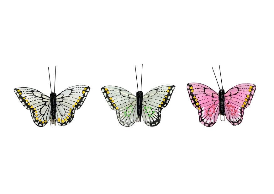 Dekorationsfjärilar clips, Bredd 8 cm, Flera färger