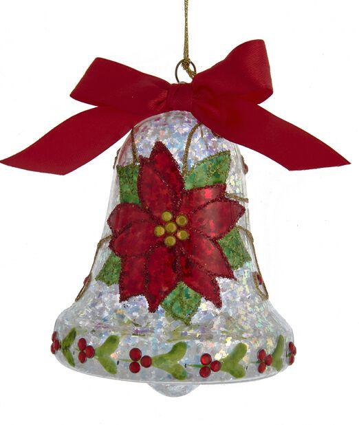 Julgranspynt Klocka i glas, Höjd 11 cm, Flerfärgad