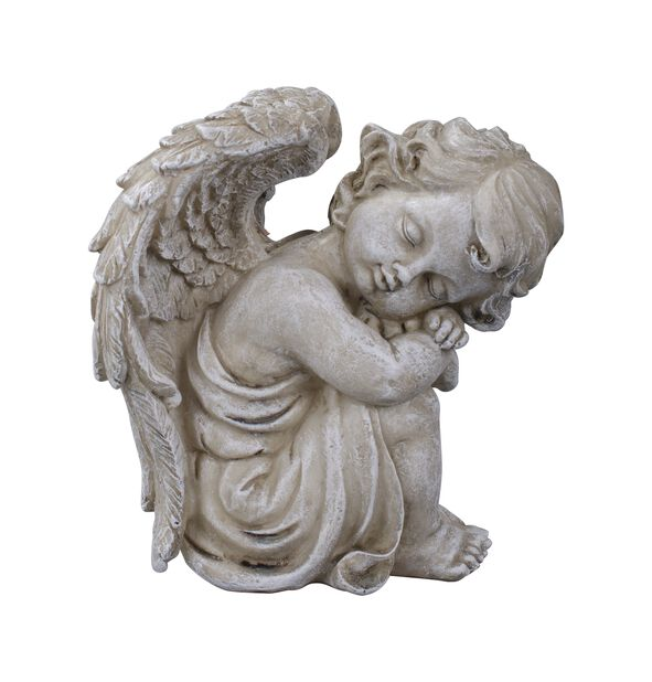 Sittande ängel, Längd 14 cm, Grå