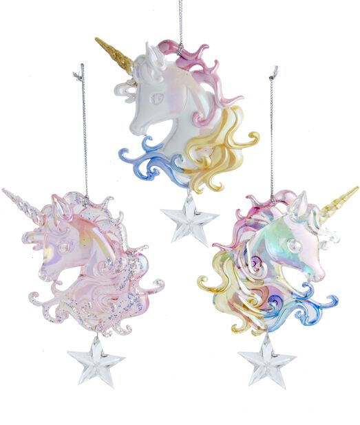 Julgranspynt Enhörningar med glitter, Höjd 14 cm, Flerfärgad