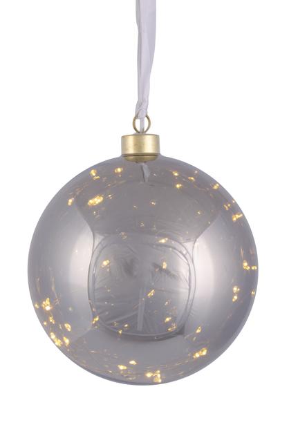 Glaskula med LED-belysning, Ø15 cm, Grå