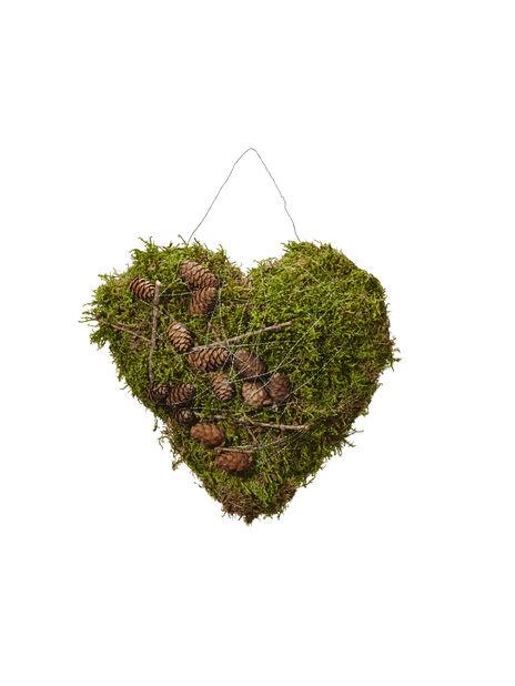 Hjärta med grön mossa, 30 cm