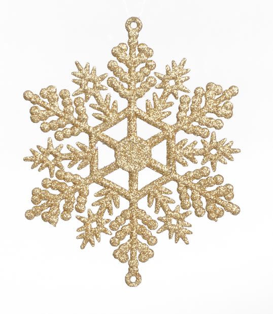 Julgranspynt Snöflinga 6-pack, Ø11 cm, Guld