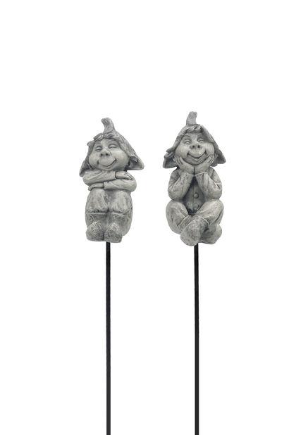 Dekorationspinne älva Hugo, Höjd 29 cm, Grå