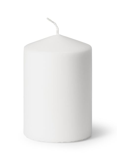Blockljus, Höjd 10 cm, Vit